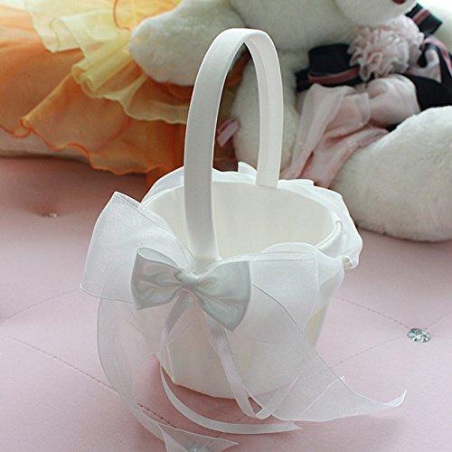 Elfenbein Satin bowknot Hochzeit Blumenmädchen Korb Blumenkinderkörbchen