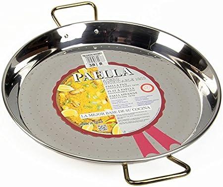 La Ideal Paella sartén de Acero Inoxidable, Plata, 38 cm, Pack de 4: Amazon.es: Hogar