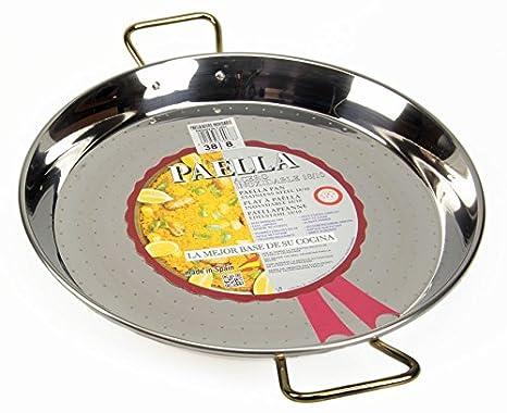 La Ideal Paella sartén de Acero Inoxidable, Plata, 38 cm ...