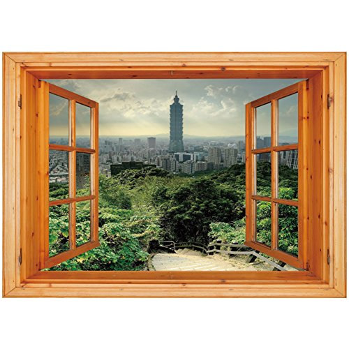 nyl Wall Decal Sticker [ Urban,Dramatic Cityscape of Taipei Famous Landmark 101 Skyscraper Trees in Park Decorative,Green Bluegrey Tan ] Window Frame Style Home Decor Art Removable (Skyscrapers Behind Trees)