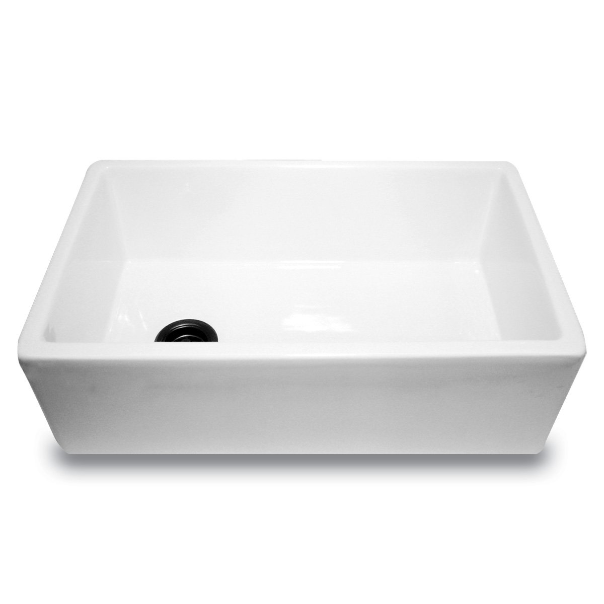 Nantucket Sinks FCFS30 30-Inch Farmhouse Fireclay Kitchen Sink with Offset Drain, White