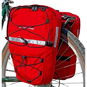 Bushwhacker Moab Red Bicycle Front / Rear Pannier w/ Reflective Trim Cycling Rack Pack Bike Bag Frame Accessories Trunk