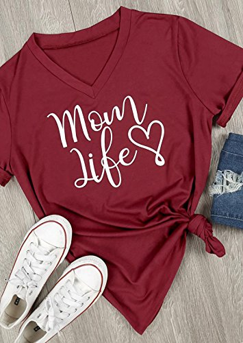 da8eefe09e3f4 JINTING Mom Life Dog Mom Shirt for Womens Casual Letters Printed ...