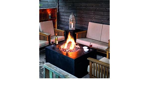Mania Cocoon Fuego ambience-outdoors Gas Chimenea cuadrado grande, negro Longitud 76 cm: Amazon.es: Jardín