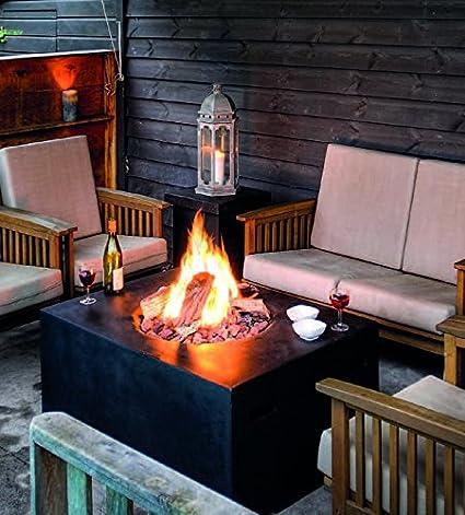 Mania Cocoon - Mesa de fuego, chimenea cuadrada pequeña, color negra, 60 cm