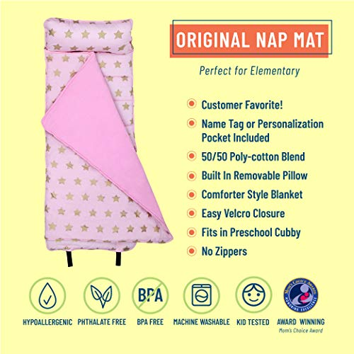 Wildkin Original Nap Mat with Pillow for Toddler Boys and Girls, Measures 50 x 20 x 1.5 Inches, Ideal for Daycare and Preschool, Mom's Choice Award Winner, BPA-Free (Pink and Gold Stars)