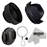 Deluxe Universal DSLR Camera Lens Hood Set with Hard-Shell Pedal and Collapsible Rubber Lens Hoods, Replacement Lens Cap & Leash Keeper for 67mm Lenses Including Anti-Static Microfiber Cleaning Cloth