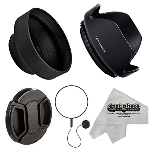 Deluxe Universal DSLR Camera Lens Hood Set with Hard-Shell Pedal and Collapsible Rubber Lens Hoods, Replacement Lens Cap & Leash Keeper for 72mm Lenses Including Anti-Static Microfiber Cleaning Cloth from 47th Street Photo