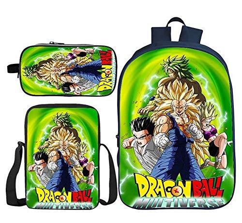 3PS Dragonball Z Goku Children School Bag Set Polyester Black Backpack with Shoulder Bag Pencil Case for 6-15years Old Teen Boys Girls,4