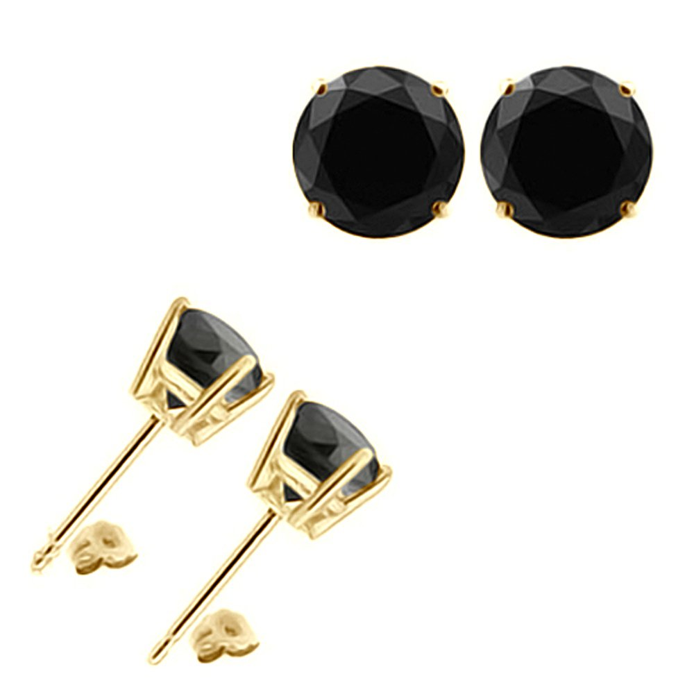 3.00 Carat Black Diamond Flower Solitaire Stud Women Pair Earrings With Halo Jackets 14K Yellow Gold