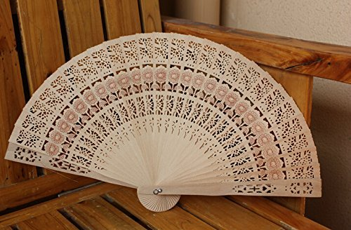 5XFolding Wooden Carved Sunflower Print Hand Fan Fragrant (5)