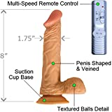 7.5'' Realistic Vibrating Penis Dildo Suction Cup Vibrator Flesh Dong Cock J1437#