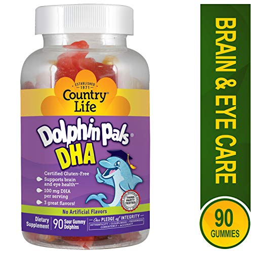 Country Life Dolphin Pals - DHA Gummies For Kids - 90 Sour Gummy Dolphins
