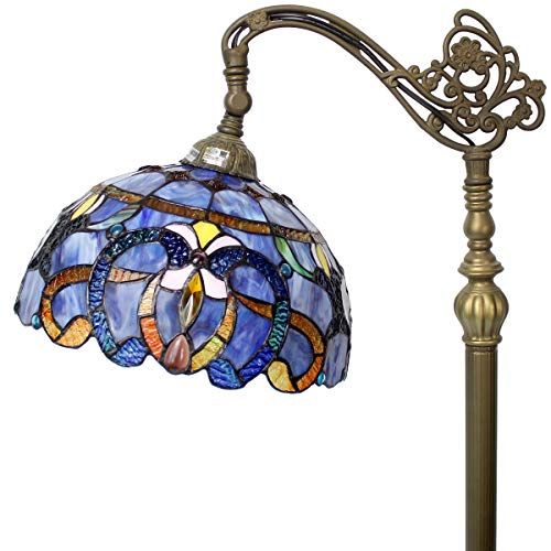 (Floor Lamp Tiffany Style Stained Glass Arched Reading Light 64 Inch Tall Blue Purple Clouldy Crystal Bead Lover Flower Lampshade for Bedroom Living Room Bookcase S558 WERFACTORY)
