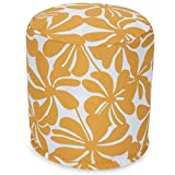 Majestic Home Goods Yellow Plantation Indoor/Outdoor Bean Bag Ottoman Pouf 16'' L x 16'' W x 17'' H