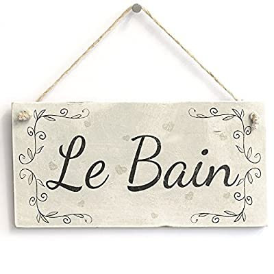 "Le Bain Handmade French Country Shabby Chic Style Wooden Bathroom Sign / Plaque Wooden Hanging Sign 8"" X 12"""