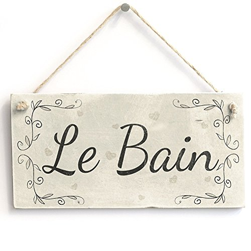 Le Bain Plaque - Le Bain Handmade French Country Shabby Chic Style Wooden Bathroom Sign / Plaque Wooden Hanging Sign 4