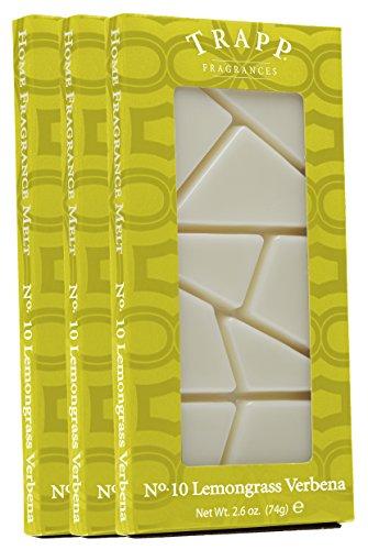 Trapp Home Fragrance Melt, No. 10 Lemongrass Verbena, 2.6-Ounce, 3-Pack (Aromatherapy Verbena)