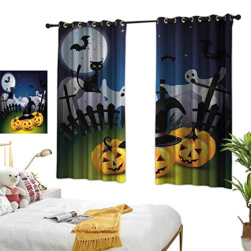 RuppertTextile Halloween Simple Curtain Funny Cartoon Design with Pumpkins Witches Hat Ghosts Graveyard Full Moon Cat 55
