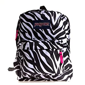 JanSport Superbreak Backpack Black/White/Fluorescent Pink Miss Zebra One Size