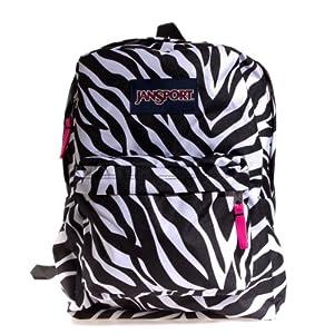 JanSport Superbreak Backpack Black/White/Fluorescent Pink Miss Zebra One Size