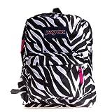 JanSport Superbreak Backpack Black/White/Fluorescent Pink...
