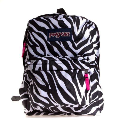 Pink Miss Zebra - JanSport Superbreak Backpack Black/White/Fluorescent Pink Miss Zebra One Size