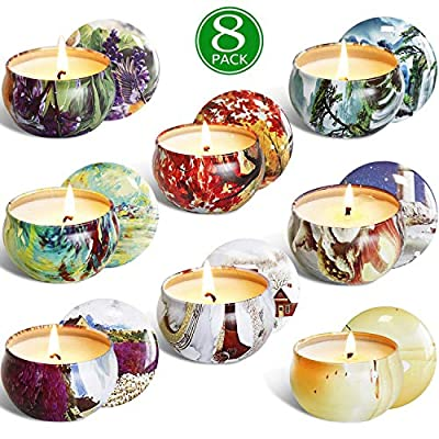 YIIA Scented Candles Gift Set -Lemon, Lavender, Mediterranean Fig,Bergamot,Vanilla,Jasmine,Rose and Spring, Candle Soy Wax for Stress Relief and Aromatherapy, Candles - 8 Pack - Fragrance Scents: Lemon, Lavender, Mediterranean Fig ,Bergamot,Vanilla,Jasmine,Rose and Spring 8 Perfumes in 1 Set Long Burning Time: Each 2.5 Oz can burns 18-20 hours, total 144-160 hours burning last Natural Soy Wax: Made of natural Soy wax, pure cotton thread and essential oil, No Smoke when burning - living-room-decor, living-room, candles - 51TEBpmzNsL. SS400  -