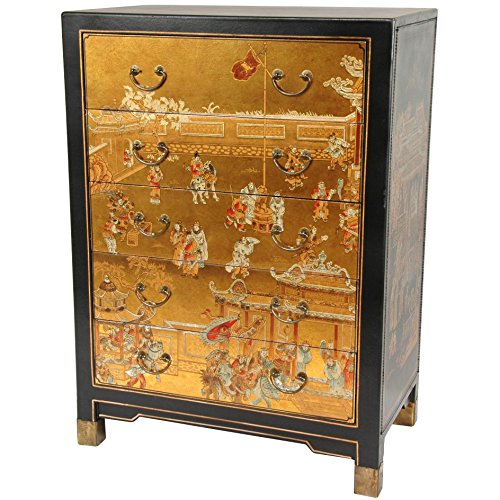 Oriental Furniture Gold Leaf Village Life Five Drawer Chest (Chest Drawer Village 5)