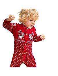 Kids Baby Romper Christmas Sweater Deer Button Clothes Unisex Infant Knit Jumpsuit