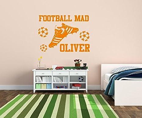 Nombre de fútbol Mad y personalizado Niños Fútbol vinilo para pared de dormitorio Art Mural 1, 550mm x 390mm: Amazon.es: Hogar