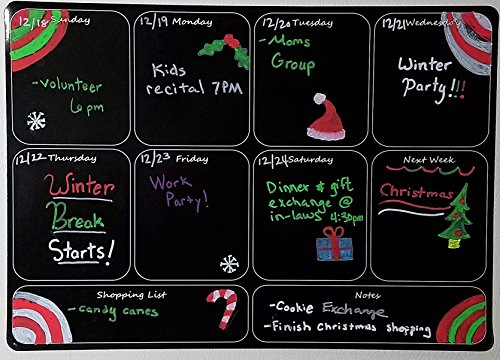 Black Fluorescent Magnetic Weekly Dry Erase