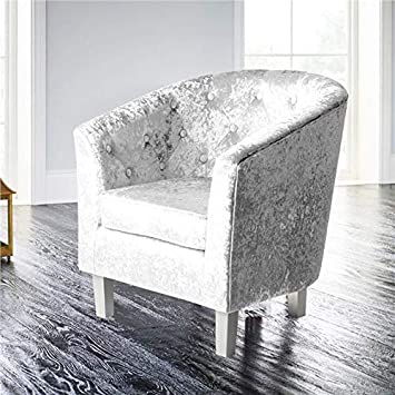 Crushed Velvet Tub Chair Arm Chair Tufted Back Buttons Lounge Living Room Office
