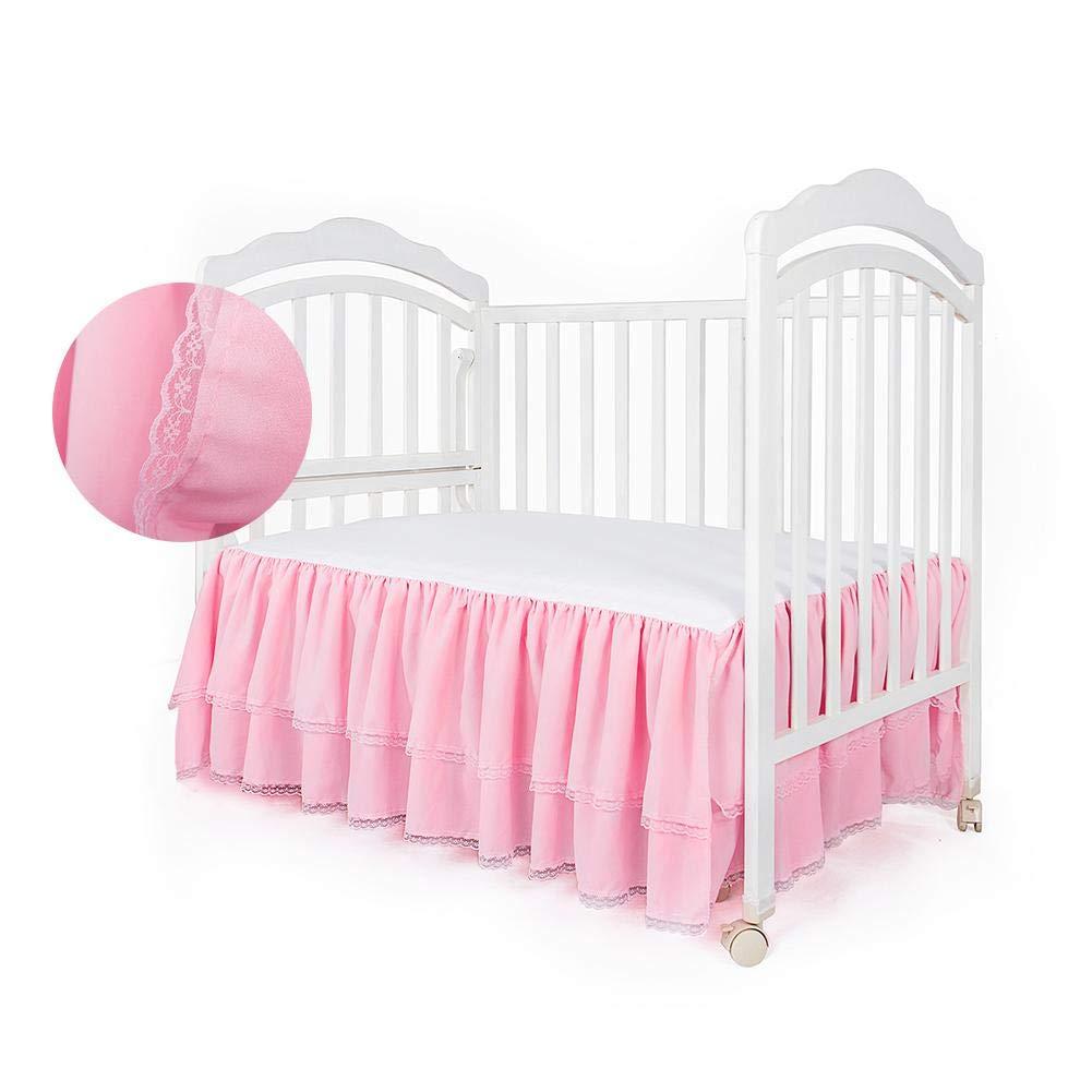 Sanmubo Portable Baby Toddler Mini Bed Skirt 100% Natural Cotton Crib Skirt Fluffy Handmade Soft Waterproof Crib Mattress Protector Pad Babyroom Decoration for Boys or Girls