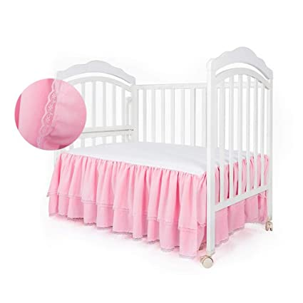 Todaytop Baby Bed Skirt Breathable Double Layer Ruffled
