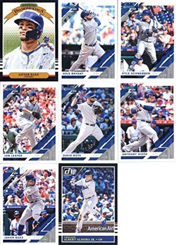 2019 Donruss Baseball Chicago Cubs Team Set of 8 Cards: Javier Baez(#22), Kris Bryant(#57), Kyle Schwarber(#98), Jon Lester(#108), David Bote(#138), Javier Baez(#165), Anthony Rizzo(#187), Albert Almora Jr.(#210)