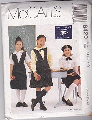 McCall's 8420 Sewing Pattern Girl's School Uniform Jumper Skirt & Blouse Size 7-10