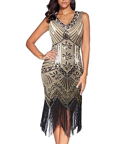 V Amarillo vestidos de cuello de Dress Claro en años 20 mujer Great cuentas de Flapper Gatsby flecos con con los qUCgwBwv