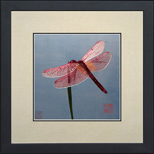 - King Silk Art 100% Handmade Embroidery Multiple Frame Dragonfly & Ladybug Oriental Wall Hanging Art Asian Decoration Tapestry Artwork Picture Gifts 33019_33037WFB1