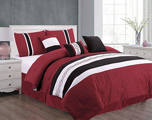 Unique Home 7 Piece Eva Patchwork Bed in a Bag Comforter Set, Burgundy Queen