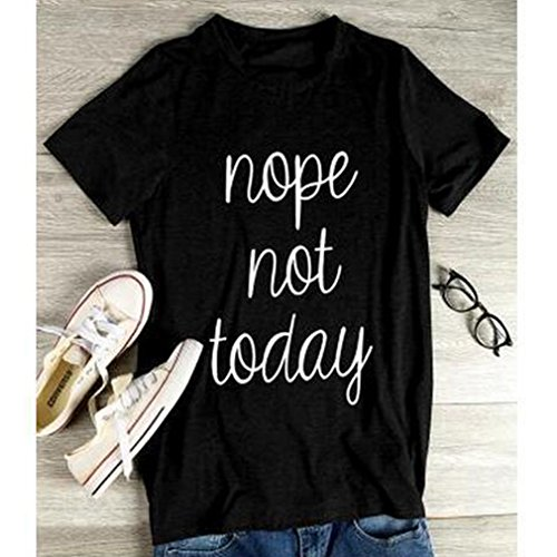 Meolin Nope Not Today Womens Relaxed Letter Printed T Shirt Punk Tee ,black,XL