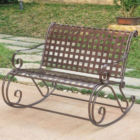 Outdoor Iron Double Rocker Bench, Patio Furniture, Porch Rocker, Made from Metal, Back Support, Armrest, Comfortable and Elegant, Multiple Colors + Expert Guide (Hammered Bronze)