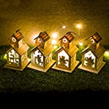lightclub Small LED Light Up Wooden House Cottage Christmas Tree Hanging Pendant Ornament Decoration Xmas Party Hanging Decor Gift D