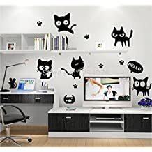 FunnyCraft Creative Cute Lovely Black Cat Hello Wall Sticker Vinyl Decal Home Decor Mural Decal Kids Bedroom Parlor Decoration Perfect Wall Stickers