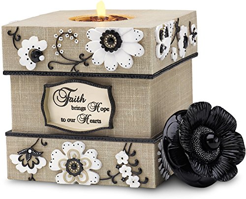 Pavilion-Faith brings Hope to our Hearts Square Tan Floral Tealight Candle Holder 5'' by Pavilion Gift Company