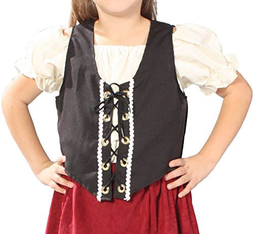 Alexanders Costumes Girls Renaissance Peasant Vest, Black, Small Child Renaissance Peasant Girl