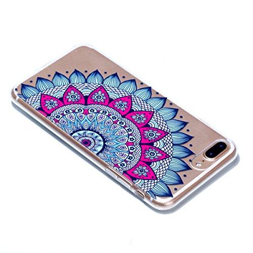 iPhone 7 / 8 Plus Hülle , Modisch Mandala Entlastung Transparent TPU Silikon Schutz Handy Hülle Handytasche HandyHülle Etui Schale Schutzhülle Case Cover für Apple iPhone 7 / 8 Plus