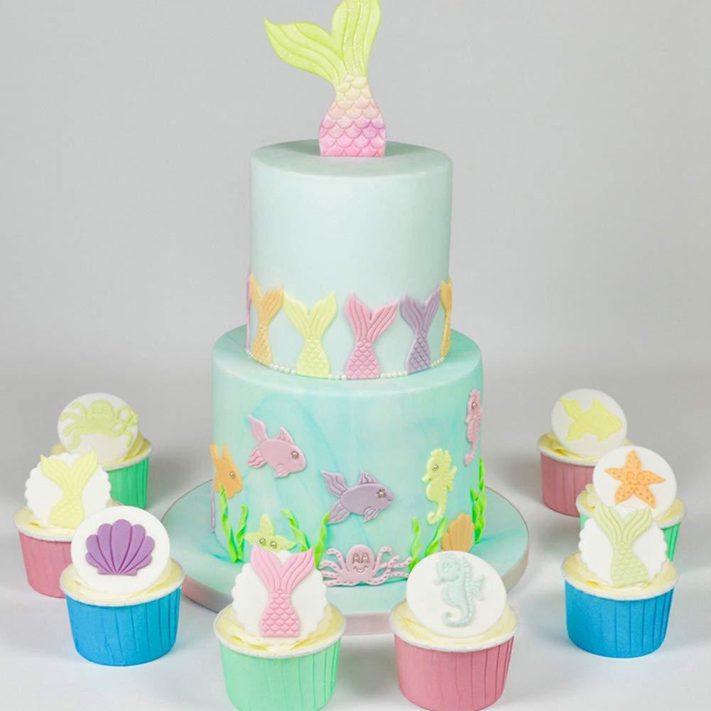 Aardich 2Pcs Mermaid Tail Cookie Cutters Plastic Mermaid Cake Fondant Molud Topper Cupcake Decoration Tool