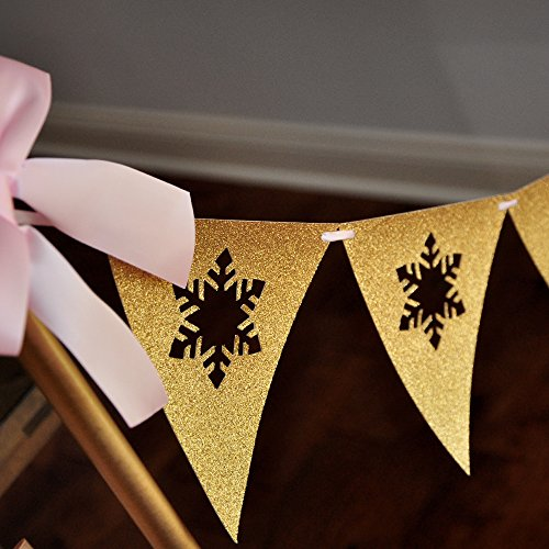 Pink and Gold Winter Onederland Backdrop Bunting Banner. Snowflake Bunting Banner. Winter Onederland First Birthday. Snowflake Party Decorations. Individual 6.5 foot strand. -