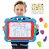 NextX Big Size Magnetic Drawing Board for Kids Colorful Doodle Toys Etch a Sketch Educational Gift Set with Lovely Sticker and 5 Stamps (Blue)